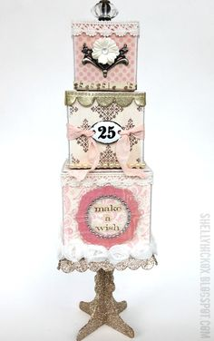 Stamptramp: Birthday Cake Artist Trading Blocks Created with @Eileen Hull's 3D Cube and Block dies from @Sizzix plus embellishments and stamps from Tim Holtz