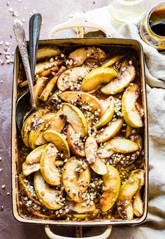 Caramelized Apple Cider Hot Fruit Bake! Fall's favorite fruit gets even sweeter with a caramelized sugar, chopped nut, and cider topping! No refined sugar added, paleo friendly, easy, and delicious. Also makes for a great topping for waffles, pancakes, oatmeal, or simply by itself!