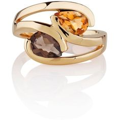 Manja - Citrine & Smoky Quartz Love Bird Ring Gold (231 AUD) ❤ liked on Polyvore featuring jewelry, rings, gold ring, smokey quartz ring, yellow gold rings, citrine jewelry and gold heart jewelry