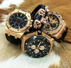#BlackandGold Men's Watches and Skull Bracelets Collection