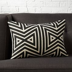 Shop Pillow with Feather-Down Insert. Crisp black lines angle an Aztec-ish pattern on natural jute. Made using an old-school block printing technique, pattern is inked on top of the jute retaining all its natural texture. Front flips to black cotton back. White Fur Pillow, Navy Pillows, Black And White Pillows, Leather Pillow, Leather Pouf, Silk Pillow, Wool Pillows, Velvet Pillows, Accent Pillows