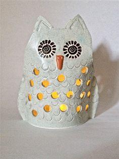 Owl Tea Light Luminary Indoor or Outdoor Tea Light Decoration Garden Art by GreenLeafStudiosEtsy on Etsy