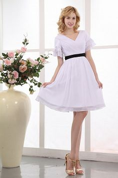 Chiffon V-Neck Elegant Mother Of Bride Dresses - Order Link: http://www.theweddingdresses.com/chiffon-v-neck-elegant-mother-of-bride-dresses-twdn1212.html - Embellishments: Sash , Ruched; Length: Knee Length; Fabric: Chiffon; Waist: Natural - Price: 138.49USD