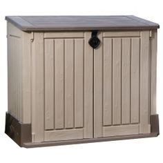 Store-It-Ot Midi Resin Horizontal Outdoor Storage Shed - Beige & Brown - Keter, Size: Beige/Brown Wooden Storage Sheds, Garden Storage Shed, Outdoor Storage Sheds, Outdoor Sheds, Garage Storage, Patio Storage, Storage Shelving, Smart Storage, Outdoor Pool