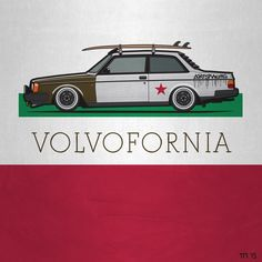 Artwork of a lowered Volvo 242 Turbo Coupe with rack roof and surfboard in the colors of the California flag. ©2015 Tom Mayer, Monkey Crisis On Mars – All Rights Reserved #Slammed