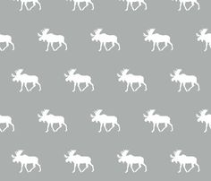 Moose Fabric - Moose / Grey Custom Fabric By Little Arrow Design - Moose Cotton Fabric by the Yard with Spoonflower