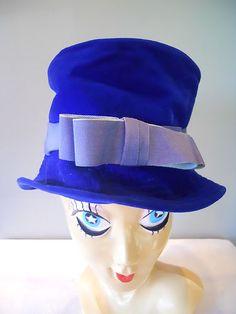 Vintage Valerie Modes 60s Blue Velvet Winter Hat Flapper Cloche Bucket Millinery | eBay
