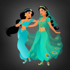 Jasmine from the animation and the live-action Disney Pixar, Disney Live, Walt Disney, Disney Marvel, Disney Films, Disney Fan Art, Animation Disney, Disney Crossovers, Disney And Dreamworks