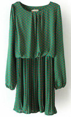 Green Long Sleeve Polka Dot Pleated Chiffon Dress US$30.48