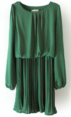 Green Long Sleeve Polka Dot Pleated Chiffon Dress US$30.48