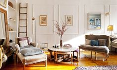 Nightwood, a Brooklyn design firm, furnished Aya Yamanouchi Lloyd's living room in her Boerum Hill home with reworked vintage pieces.