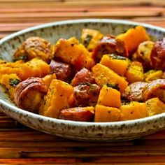 Recipe for Roasted Winter Squash and Sausage with Herbs; this is one of the easiest dinners you'll ever make, and perfect for fall! [from Kalyn's Kitchen] #LowGlycemicRecipe