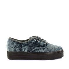Grijze platform sneakers fluweel