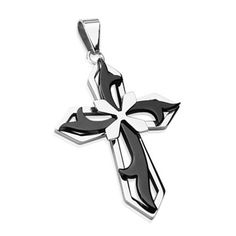 Stainless Steel with Tribal Black PVD Cross on Cross Pendant