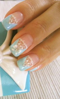 Lace Nail Art BUT not the Triangle blue