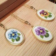 This Pin was discovered by Özg Diy Jewelry Necklace, Cross Jewelry, Handmade Necklaces, Ribbon Embroidery, Cross Stitch Embroidery, Cross Stitch Designs, Cross Stitch Patterns, Cross Stitch Collection, Beaded Cross