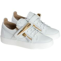 Leather Sneakers (€540) ❤ liked on Polyvore featuring shoes, sneakers, white, womenshoessneakers, white leather shoes, leather upper shoes, leather sneakers, giuseppe zanotti sneakers and leather trainers
