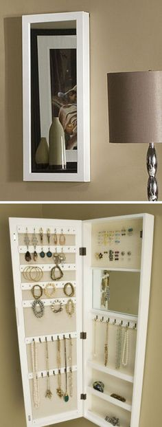 Hidden Space-Saving White Mirrored Hanging Jewelry Armoire ♥