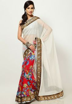 Designer Saree With Zari Embroidered Border
