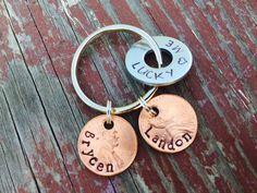 Hand Stamped Family Keychain Penny Keepsake Gift von IndyGifts