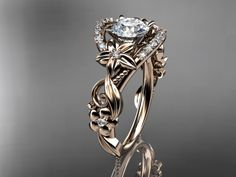 Holy moly can I have one?? 14kt rose gold diamond unique engagement ring,wedding ring ADLR211. $1,475.00, via Etsy.