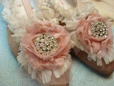 embellishing plain shoes with lace and vintage jewelry