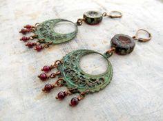 Garnet Gypsy earrings January birthstone by Gypsymoondesigns, $28.00