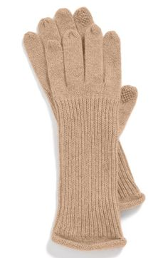 Halogen® Nordstrom 'Touch Tech' Cashmere Gloves available at #Nordstrom in pink plumier