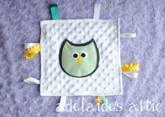 Owl Lovey Security Blanket  Mint Gray & Yellow  by DirectorJewels, $12.00 #shophandmade #Etsy #adelaidesattic