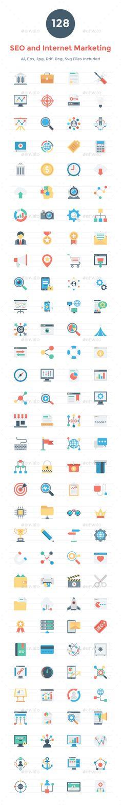 128 Seo and Internet Marketing Icons Vector EPS, AI Illustrator