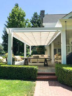 Backyard Patio Designs, Backyard Landscaping, Shade Ideas For Backyard, Patio Ideas, Backyard Shade, Porch Ideas, Outdoor Rooms, Outdoor Living, Outdoor Decor