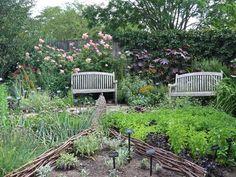 Garden benches overlooking vegetable and herb gardens.