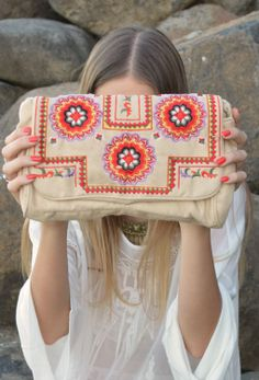 Mona Folklore Embroidered Clutch Bag – Cream | www.thefreedomstate.com.au