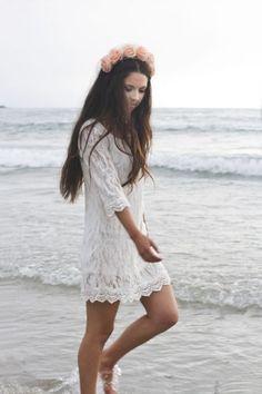 White Round Weave Dress - Sheinside.com