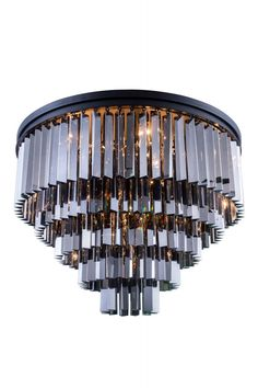 """Sydney Flush Mount D:32"""" H:21"""" Lt:17 Mocha Brown Finish (Royal Cut Silver Shade Crystals). Crystal bars in clear or rich and vibrant hues of gold or silver exploding with prisms layered in circular or rectangular shapes. The Sydney will satisfy your desire to hold the past and embrace the future at the same time.Specifications:   Dimensions 32"""" W x 21"""" H   Finish Mocha Brown    Crystal Trim  Royal Cut    Crystal Color  Silver Shade (Grey)    Chain/Wire Included  10""""    Light Bulbs  17…"""