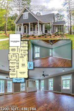 ****Mom**** Cute Plan-No Breakfast Rm--Architectural Designs Craftsman Home Plan gives you 4 bedrooms, 3 full baths and sq. of heated living space. I Could See Me and My Family Living Cottage House Plans, Craftsman House Plans, Bedroom House Plans, New House Plans, Dream House Plans, Small House Plans, Cottage Homes, House Floor Plans, My Dream Home
