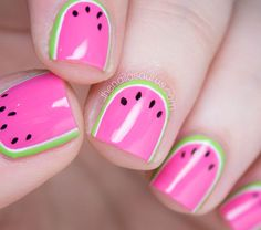Watermelon Nail Art with Nicole by OPI LeaPink for Joy