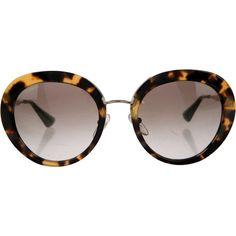 4c32b5edf687 Pre-owned Prada Tortoiseshell Round Sunglasses ( 125) ❤ liked on Polyvore  featuring accessories