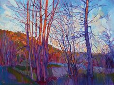 Montana winter painting by Erin Hanson