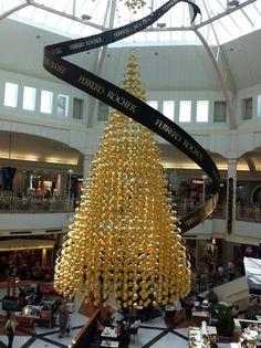 giant suspended Ferrero Rocher Christmas tree