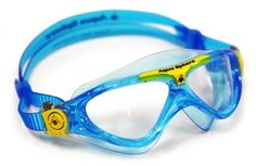 Aqua Sphere Vista Junior Swim Mask with Clear Lens, Bluewater/Yellow by Aqua Sphere. $18.91. The newest Junior Swim mask combines the best Aqua Sphere technologies resulting in a comfortable, leak resistant fit with expanded visibility. The low profile frame is made with the soft yet durable Softeril material for a comfortable fit and the stylized frame offers fun and exciting colors that kids will love.  The lightweight Plexisol lens offers 100% UVA and UVB protection, has a s...