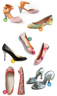 Striped + floral heels + flats are on trend for Spring. #pattern #color