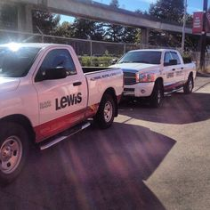 An example a decal package/partial wrap for our friends at Lewis Plumbing