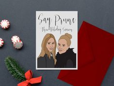 Say Prune This Holiday Season- Pop Culture - Holiday Cards  Olsen Twins by PopPastiche on Etsy