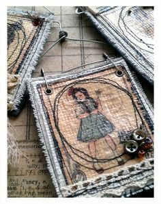 Magic of Oz Image Tranfer stitched onto fabric by @Cat Kerr. Clever clever! #graphic45 #DIY