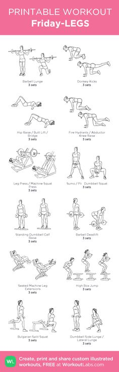 Friday-LEGS: my visual workout created at WorkoutLabs.com • Click through to customize and download as a FREE PDF! #customworkout
