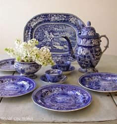 """England produced some of the best known blue-and-white transferware in the world."" these are the dark blue Historical pieces...from Tone on Tone antique shop."