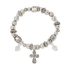 Silver Tone Cross Girls Stretch Charm Beaded Stretch Bracelet ** Continue to the product at the image link.