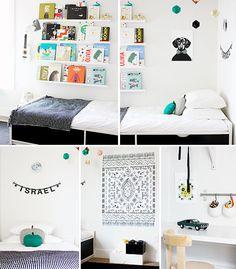 Modern kids room. Love the white IKEA Ribba ledges used as book shelves. // A Merry Mishap