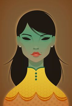 Stanley Chow Illustration & Design — The Green Lady Clark Kent, Caricatures, Stanley Chow, Vector Portrait, Portrait Art, Portraits, Chow Chow, Love Art, Art Images
